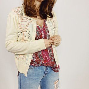 SUNDANCE Butter Cream Ivory Cardigan Cross-stitch